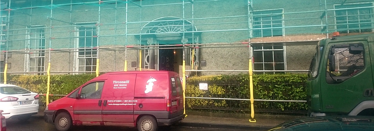 Old bank of Ireland, Westport, Co Mayo. Timber treatment by Tirconaill damp proofing Ireland. Contractor, Logden Homes